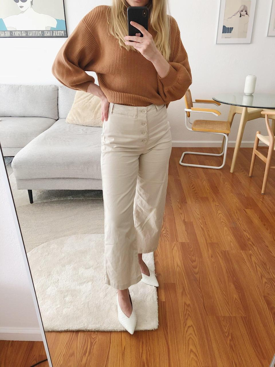 <p>Once I go back into the office, I can easily dress up these <span> Old Navy Wide-Leg Pants </span> ($35, originally $40) with a work top and slingback heels.</p>