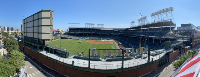 Wrigley Field on opening day sits empty, though a few lucky fans were able to watch from rooftops across the street. (Yahoo Sports)