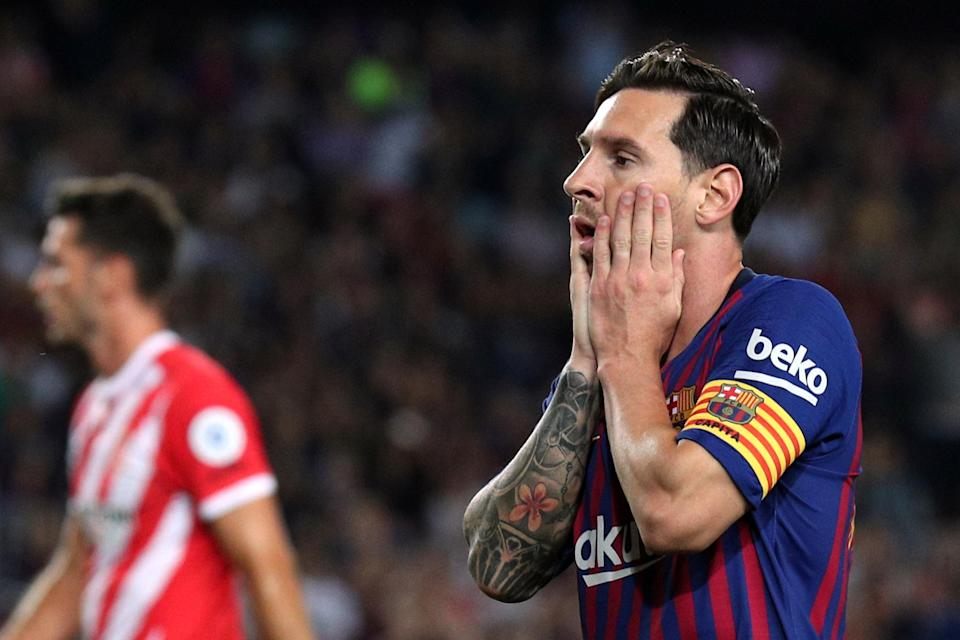 It was a frustrating night for Lionel Messi and Barcelona, who settled for a 2-2 draw with Girona at the Camp Nou. (Reuters)
