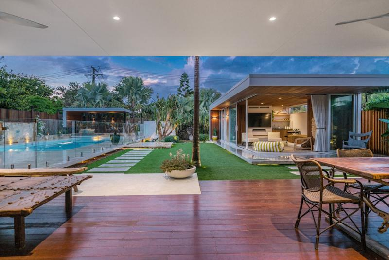 The outdoor area of Shelley Craft's Byron Bay home