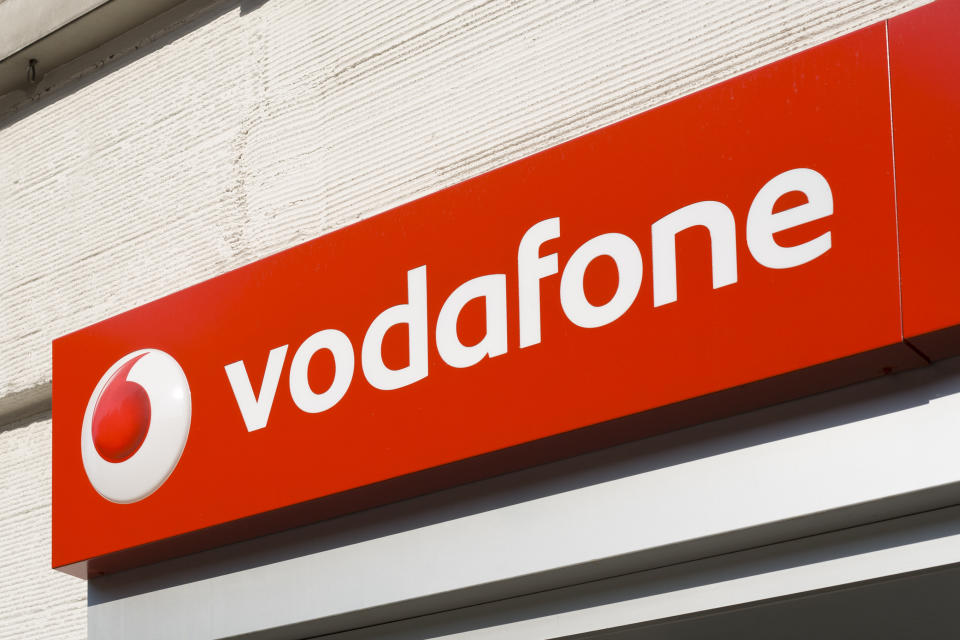 Wiesbaden, Germany - April 24, 2011: Red sign of Vodafone Shop. Vodafone Ltd. is a telecommunications company headquartered in London, United Kingdom. It is one of the largest telecommunications companies in Europe. Vodafone was founded in 1984