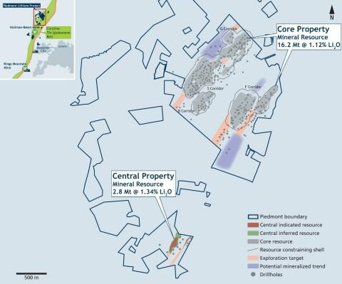 Piedmont Announces Initial Mineral Resource Estimate at Central Property
