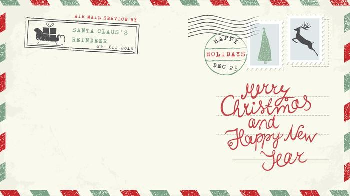 Merry Christmas letter with Christmas stamps on it