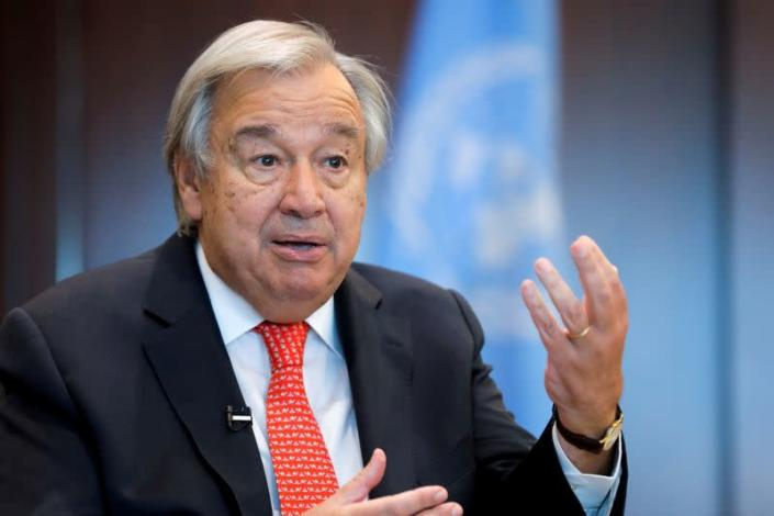 FILE PHOTO: United Nations Secretary-General Antonio Guterres gestures during an interview with Reuters in New York