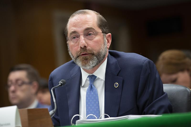 Alex Azar, secretary of Health and Human Services (HHS), speaks during a Senate Appropriations Subcommittee hearing in Washington, D.C. on Feb. 25, 2020. )Stefani Reynolds/Bloomberg via Getty Images)