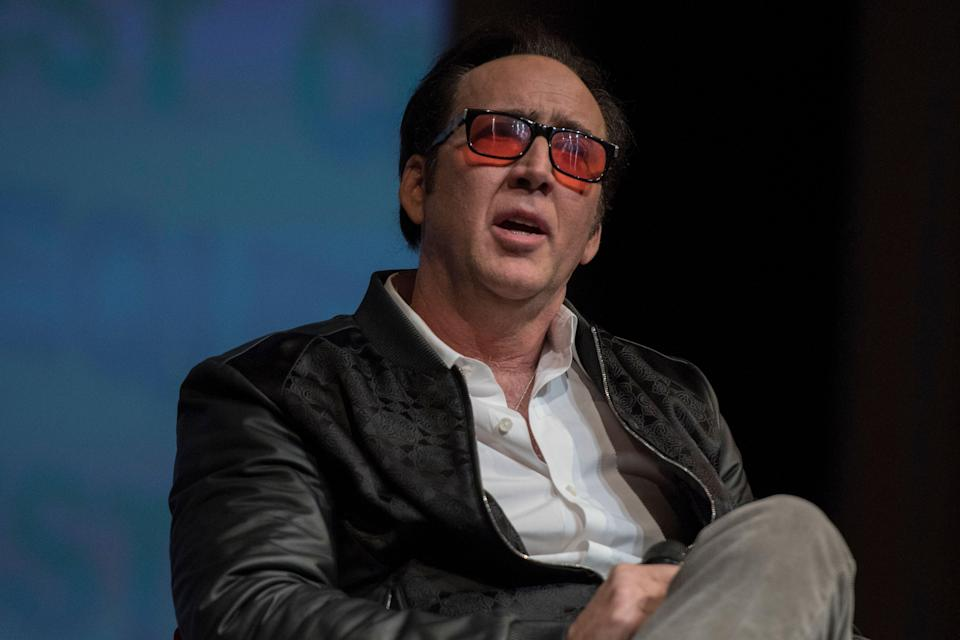Actor Nicolas Cage speaks to audience about his recent venture into virtual reality acting during the Maverick Spirit Award ceremony held at the California Theatre in San Jose, CA on Wednesday, February 28, 2018. The Maverick Spirit Award is part of the Cinequest Film Festival. (Photo by Yichuan Cao/Sipa USA)