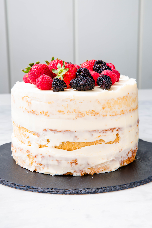 "<p>Don't stress about getting the icing perfect!</p><p>Get the recipe from <a href=""https://www.delish.com/cooking/recipe-ideas/a23031807/naked-cake-recipe/"" target=""_blank"">Delish</a>. </p>"