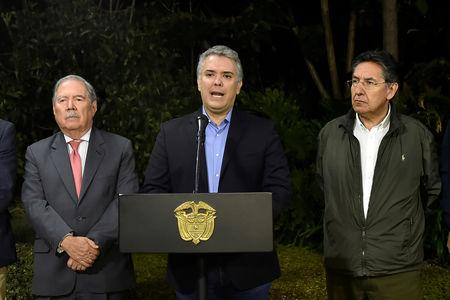 Colombian President Duque speaks at a news conference in Medellin