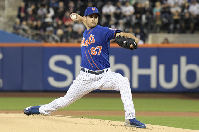 "<a class=""link rapid-noclick-resp"" href=""/mlb/teams/nym"" data-ylk=""slk:New York Mets"">New York Mets</a> pitcher <a class=""link rapid-noclick-resp"" href=""/mlb/players/10326/"" data-ylk=""slk:Seth Lugo"">Seth Lugo</a> is providing more value than his 27% fantasy ownership reflects. (AP Photo/Bill Kostroun)"
