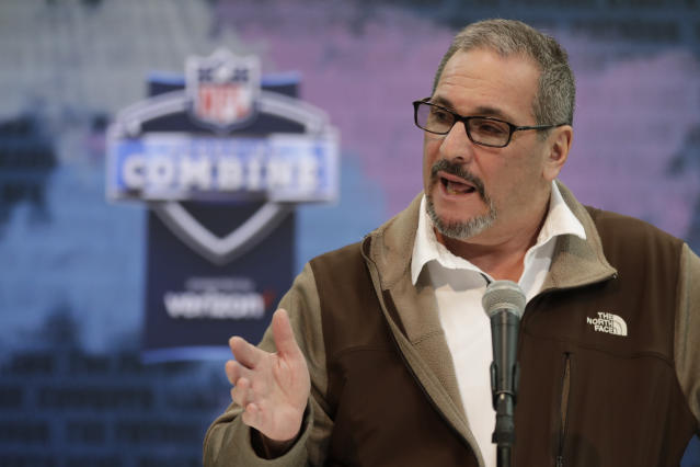 File-This Feb. 27, 2019, file photo shows New York Giants general manager Dave Gettleman speaking during a press conference at the NFL football scouting combine in Indianapolis. The Giants fired head coach Pat Shurmur on Monday, Dec. 30, 2019, just two years into a five-year contract, the Daily News has confirmed. But the Giants aren't making sweeping changes as Gettleman is being retained by co-owners John Mara and Steve Tisch. Gettleman is expected to meet with the media on Tuesday. (AP Photo/Michael Conroy, File)