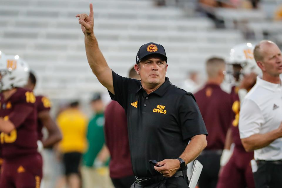 Arizona State Sun Devils defensive coordinator Danny Gonzales calls out to his team before a game against Sacramento State on Sept. 6. (Kevin Abele/Getty Images)