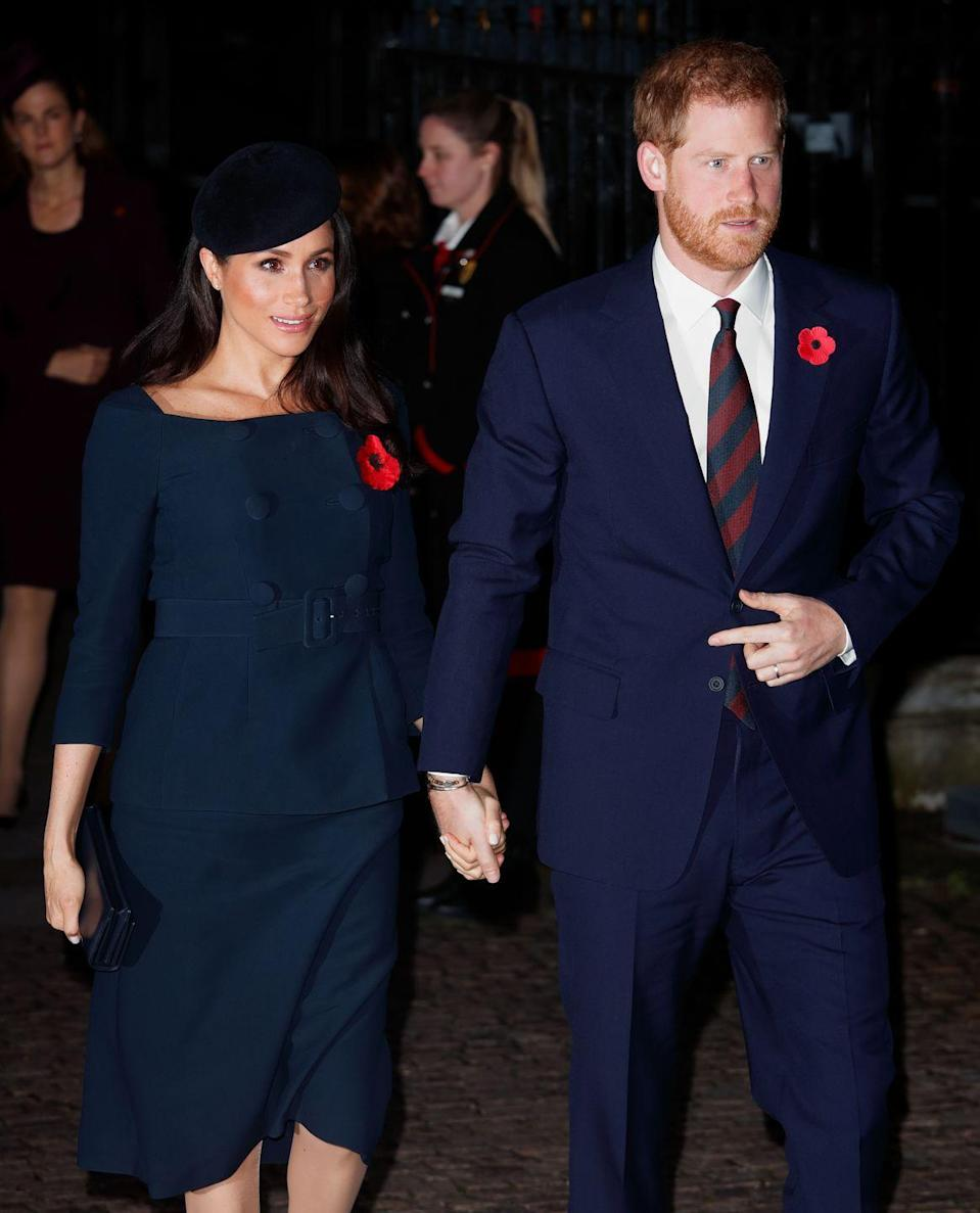 <p>The Duke and Duchess of Sussex arrive hand-in-hand to Westminster Abbey where they join other members of the royal family for a service to mark the centenary of the Armistice. </p>