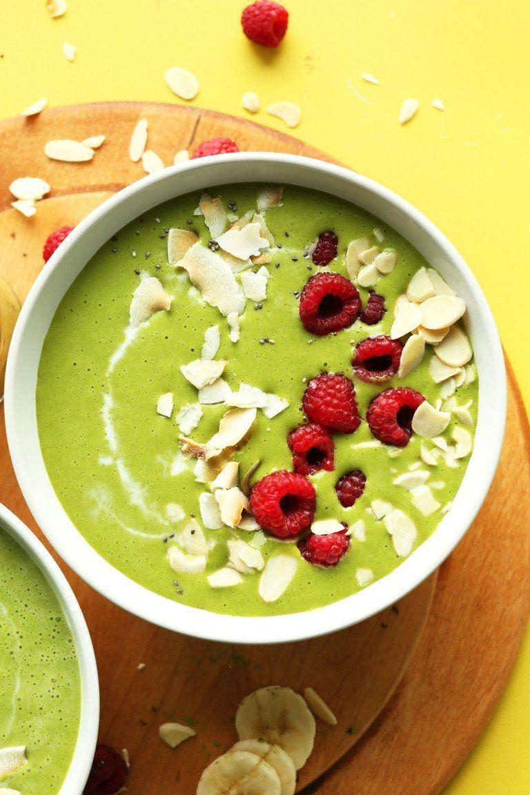 """<strong>Get the <a href=""""https://minimalistbaker.com/matcha-green-smoothie-bowl/"""" target=""""_blank"""">Matcha Green Smoothie Bowls</a> recipe from Minimalist Baker</strong>"""