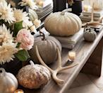 <p>The glimmering <span>German Glitter Pumpkins</span> ($17-$40) look beautiful on tablescapes and mantels.</p>
