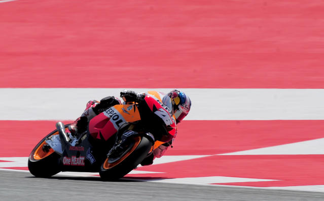 Repsol Honda Team's Spanish Dani Pedrosa rides at the Catalunya racetrack in Montmelo, near Barcelona, on June 1, 2012, during the MotoGP first training session of the Catalunya Moto GP Grand Prix. AFP PHOTO / JOSEP LAGOJOSEP LAGO/AFP/GettyImages