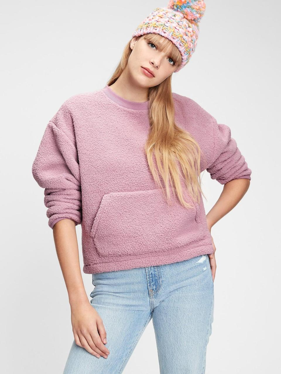 <p>And pair them with these cozy <span>Gap Sherpa Crewneck Sweatshirt</span> ($27)!</p>