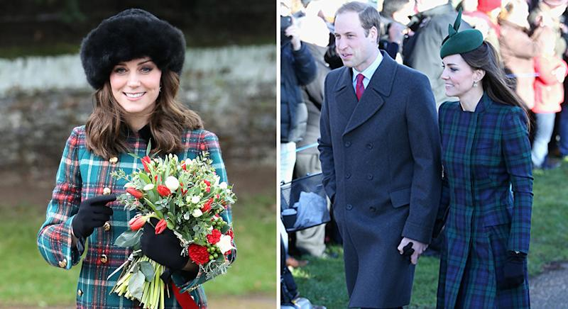 Kate often wears tartan on Christmas Day, most recently in 2017 and 2013. [Photos: Getty]