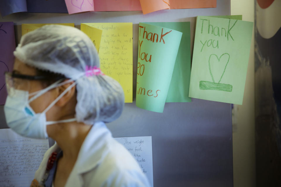 FILE - In this May 29, 2020, file photo, letters of thanks from students adorn the walls of a break room that was set up for workers to decompress from the stresses of caring for COVID-19 patients at Elmhurst Hospital, in New York. As the coronavirus pandemic surges across the nation and infections and hospitalizations rise, medical administrators are scrambling to find enough nursing help — especially in rural areas and at small hospitals. (AP Photo/Robert Bumsted, File)