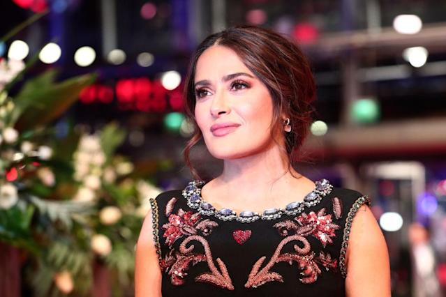 Salma Hayek has shared a natural no make-up selfie, pictured at The Roads Not Taken premiere in Berlin in February 2020. (Getty Images)