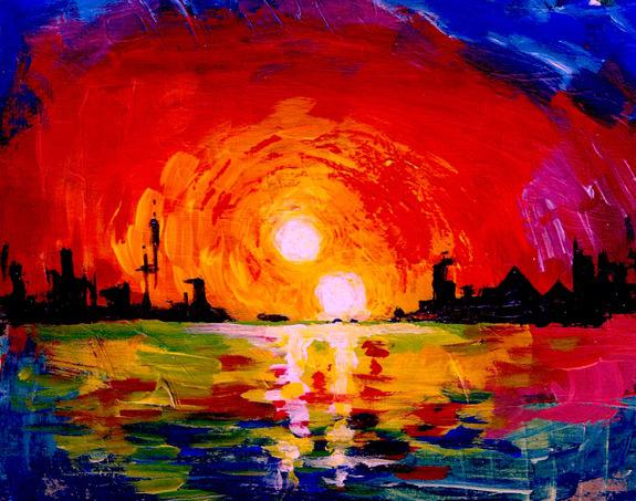 University of Utah astrophysicist Ben Bromley painted this depiction of a double sunset, as seen from an inhabited Earthlike planet orbiting two stars.