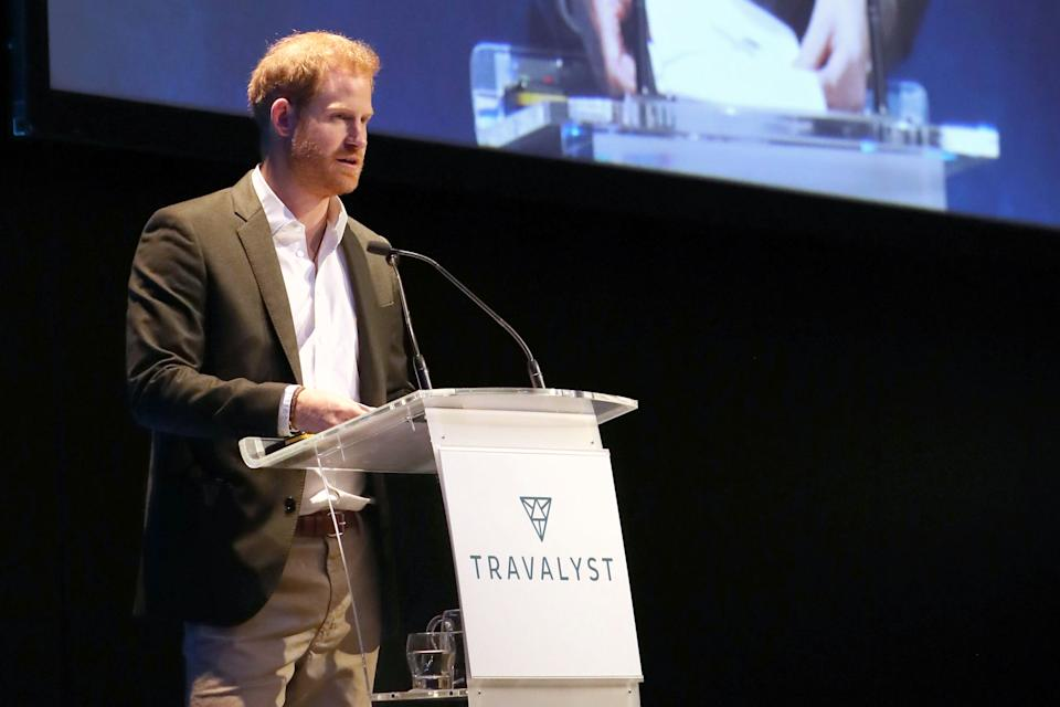 Britain's Prince Harry, Duke of Sussex, addresses a sustainable tourism summit at the Edinburgh International Conference Centre in Edinburgh on February 26, 2020. - Prince Harry was back in Britain on February 26 for the first of a final round of public appearances before he and his wife Meghan step back from their royal duties. (Photo by Andrew Milligan / POOL / AFP) (Photo by ANDREW MILLIGAN/POOL/AFP via Getty Images)
