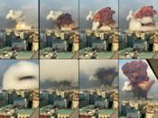 A fireball explodes while smoke is billowing during a chemical explosion at the port of the Lebanese capital Beirut on August 4, 2020