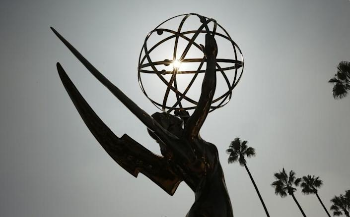 """LOS ANGELES, CA - SEPTEMBER 15: The Emmy Award statue at the Academy of Television Arts & Sciences campus in Los Angeles during a """"Sneak Peek"""" behind-the scenes reveal of television's biggest night at the Television Academy in Los Angeles on Wednesday morning. The in-person 73rd Emmy Awards will be broadcast this Sunday Sept. 19 on CBS Television. The producers explained Covid precautions that will ensure Emmy nominees can enjoy the celebrations. Television Academy on Wednesday, Sept. 15, 2021 in Los Angeles, CA. (Al Seib / Los Angeles Times)."""