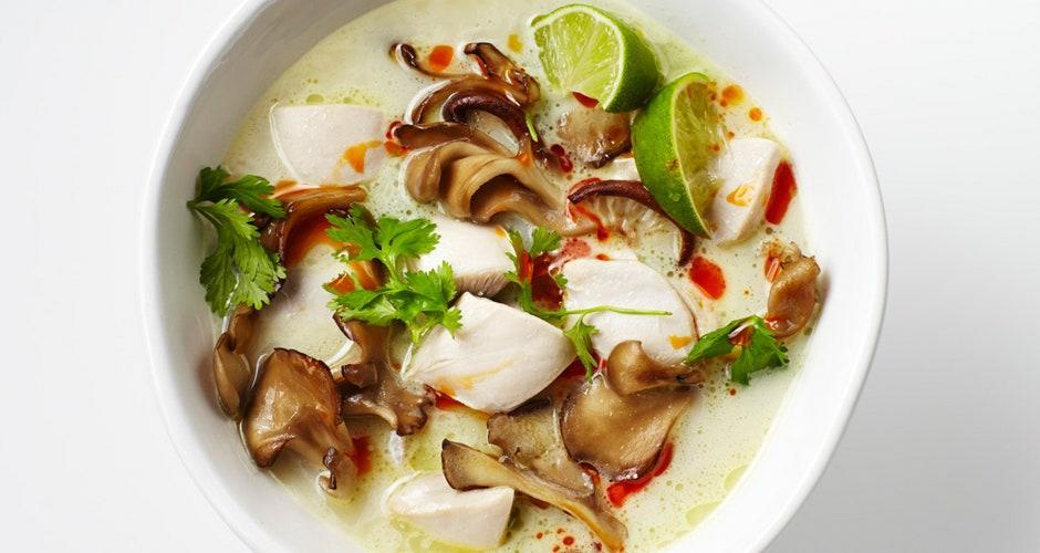 "This silky, aromatic soup is a complete meal in a bowl. <a href=""https://www.bonappetit.com/recipe/tom-kha-gai-chicken-coconut-soup?mbid=synd_yahoo_rss"" rel=""nofollow noopener"" target=""_blank"" data-ylk=""slk:See recipe."" class=""link rapid-noclick-resp"">See recipe.</a>"