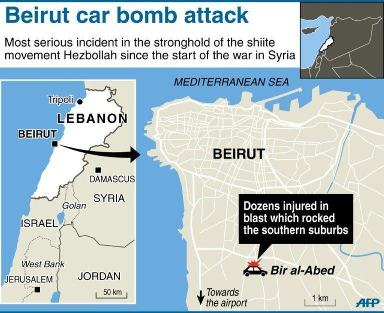 Map locating a car bomb which targeted a stronghold of the Lebanese Shiite movement Hezbollah