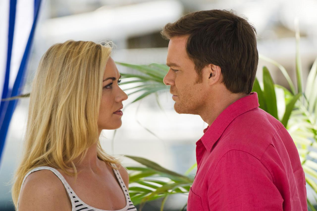 """Yvonne Strahovski as Hannah McKay and Michael C. Hall as Dexter Morgan in the """"Dexter"""" Season 8 episode, """"Are We There Yet?"""""""
