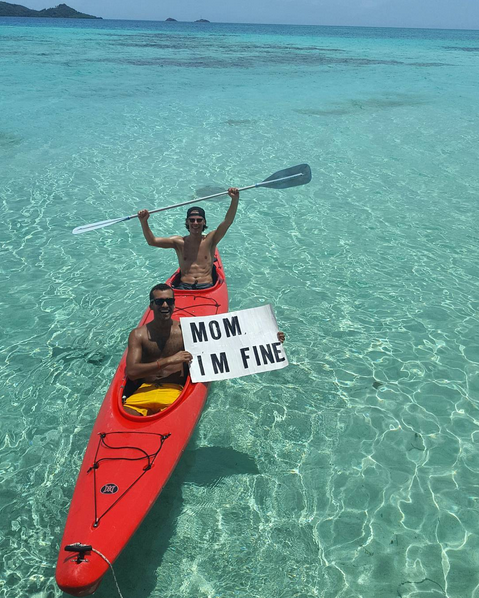Kayaking in the Caribbean off the coast of Providencia Island in Colombia.