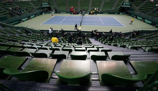 Spectator's stands are seen empty during a tennis match between Japan and Ecuador in a Davis Cup qualifier which is taking behind closed doors amid the spread of the new coronavirus, in Miki