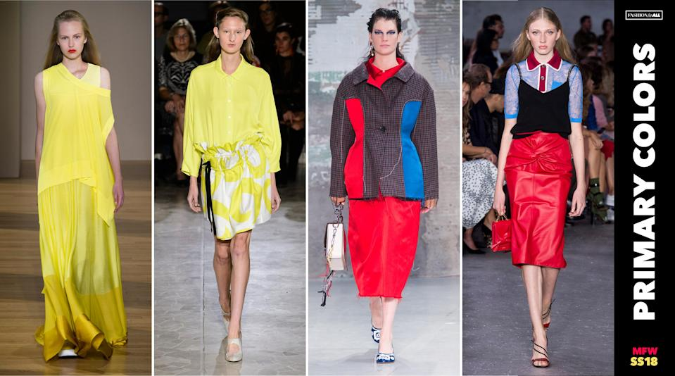 <p><i>Primary colors are back, as seen through the dresses, tops, skirts, and jackets in shades of yellow, red and blue seen all over MFW. (Photo: ImaxTree, Art: Quinn Lemmers for Yahoo Lifestyle) </i></p>