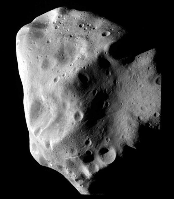 Asteroid Lutetia close-up view as captured by Europe's Rosetta spacecraft in July 2010.