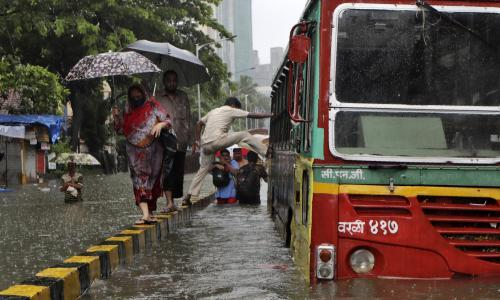 Monsoon rains driven by high winds bring flooding misery to Mumbai