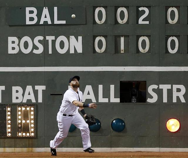 Boston Red Sox's Jonny Gomes fields the one-run double off the wall by Baltimore Orioles' Chris Davis in the fifth inning of a baseball game in Boston, Thursday, Aug. 29, 2013. (AP Photo/Michael Dwyer)
