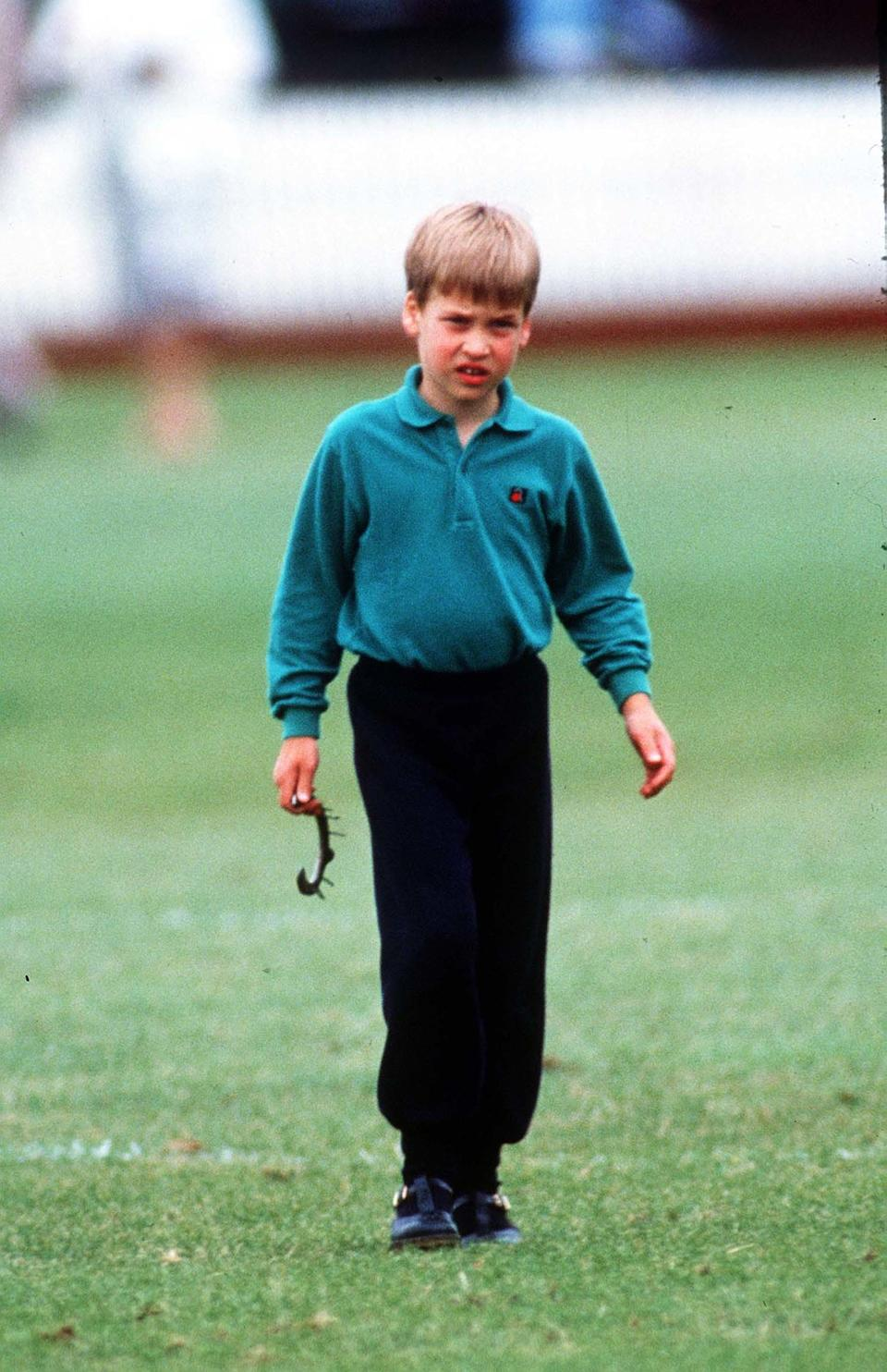 <p>A young Prince William at Cirencester Polo Club, June 1989. The prince has become a keen polo player. (Anwar Hussein</p>