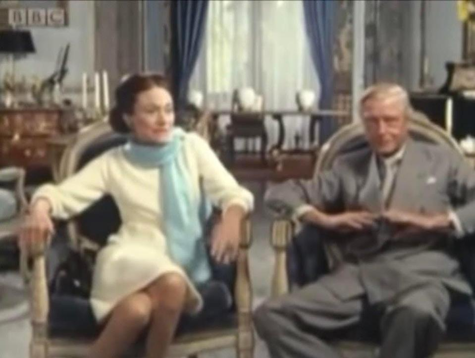 The Duke and Duchess of Windsor in their Paris apartment during the BBC interview that aired in 1970BBC