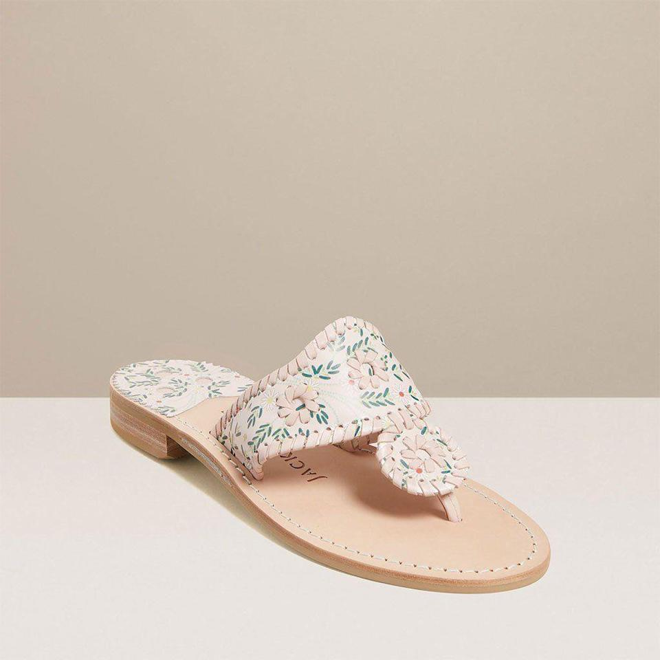 "<p>jackrogersusa.com</p><p><a href=""https://go.redirectingat.com?id=74968X1596630&url=https%3A%2F%2Fwww.jackrogersusa.com%2Fproducts%2Fdaisy-print-jacks-flat-sandal&sref=https%3A%2F%2Fwww.townandcountrymag.com%2Fstyle%2Ffashion-trends%2Fg35863950%2Fjack-roger-spring-2021-sale%2F"" rel=""nofollow noopener"" target=""_blank"" data-ylk=""slk:Shop Now"" class=""link rapid-noclick-resp"">Shop Now</a></p><p>$96</p><p><em>Original Price: $128 </em></p>"