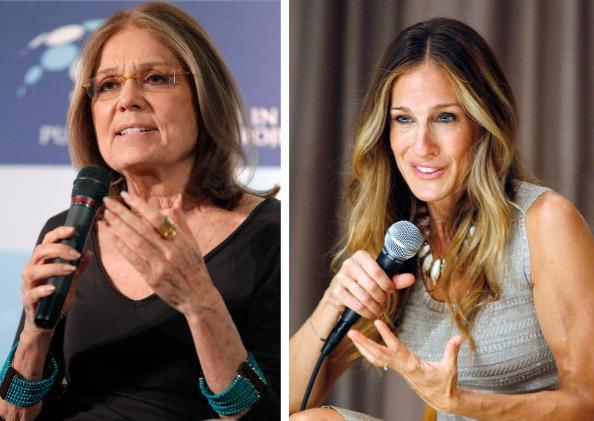 (FILE PHOTO) In this composite image a comparison has been made between Gloria Steinem (L) and actress Sarah Jessica Parker. Sarah Jessica Parker will reportedly play Gloria Steinem in a film biopic about Linda Lovelace entitled 'Lovelace.' ***LEFT IMAGE*** WASHINGTON, DC - DECEMBER 15: Author and feminist activist Gloria Steinem participates in a roundtable discussion during the Women In Public Service event at the Department of State December 15, 2011 in Washington, DC. (Photo by Chip Somodevilla/Getty Images) ***RIGHT IMAGE*** NEW YORK, NY - SEPTEMBER 14: Actress Sarah Jessica Parker attends the screening of I Don't Know How She Does It at Scandinavia House Screening Room on September 14, 2011 in New York City. (Photo by Andy Kropa/Getty Images for Moms & The City)