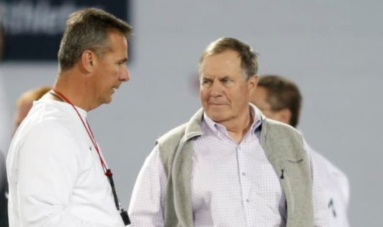 Ohio State football coach Urban Meyer says Bill Belichick's Patriots go deep into talent evaluation like no other team in the NFL. (AP)