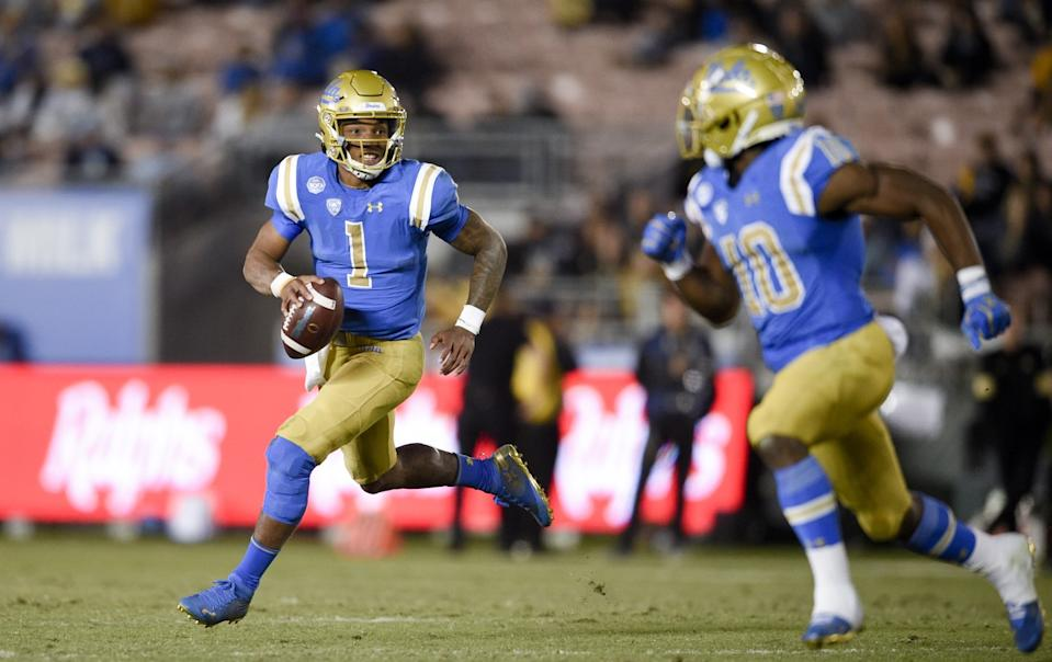 UCLA quarterback Dorian Thompson-Robinson (1) during last year's victory over Colorado.