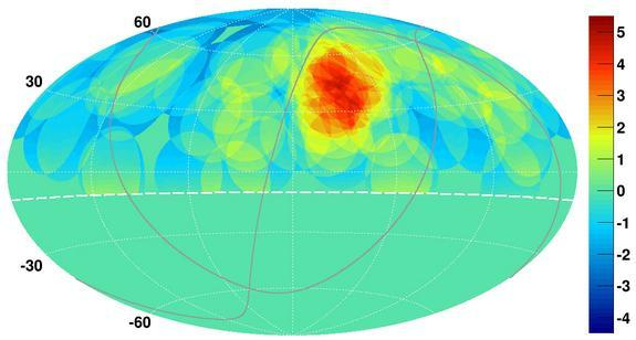 A map of the northern sky shows the concentration of ultrahigh-energy cosmic rays stemming from the constellation of Ursa Major.