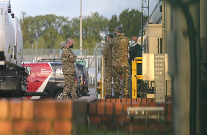LONDON, ENGLAND - OCTOBER 04: British soldiers are seen at Buncefield oil storage depot before British military to start delivering fuel to petrol stations in London, England on October 04, 2021. (Photo by Hasan Esen/Anadolu Agency via Getty Images)