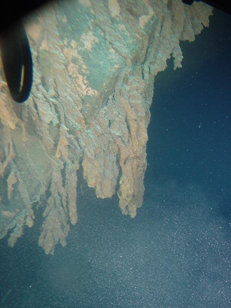 Rusticles growing down from the stern section of Titanic. Image courtesy of Lori Johnston, RMS Titanic Expedition 2003, NOAA-OE.