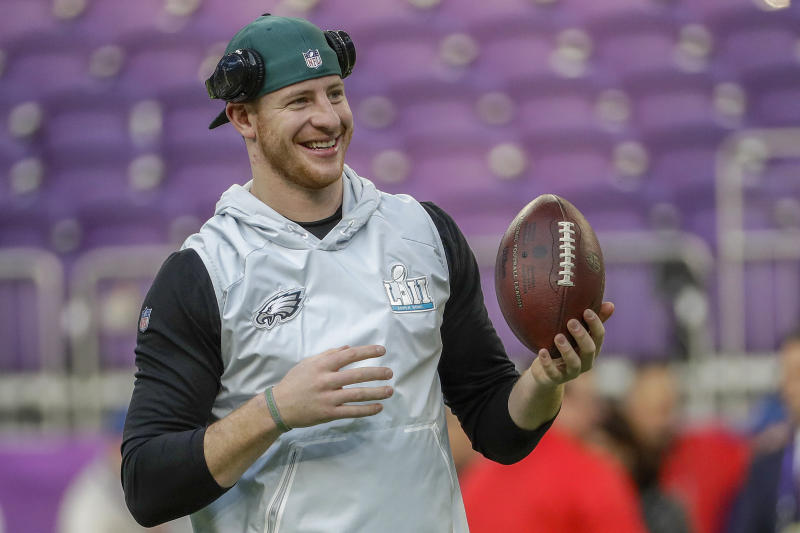 Carson Wentz is recovering from a season-ending knee injury that he suffered in December. (AP)