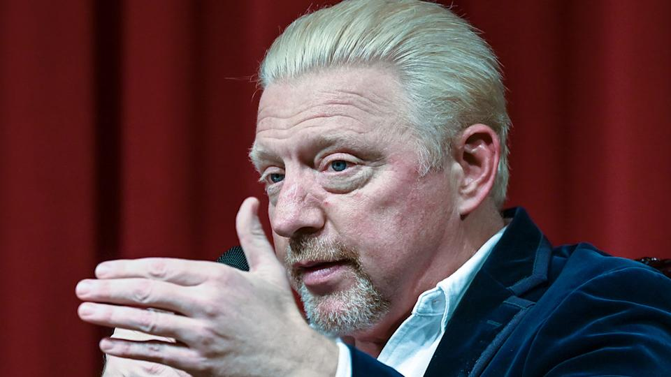 Boris Becker is pictured here speaking at a press conference.