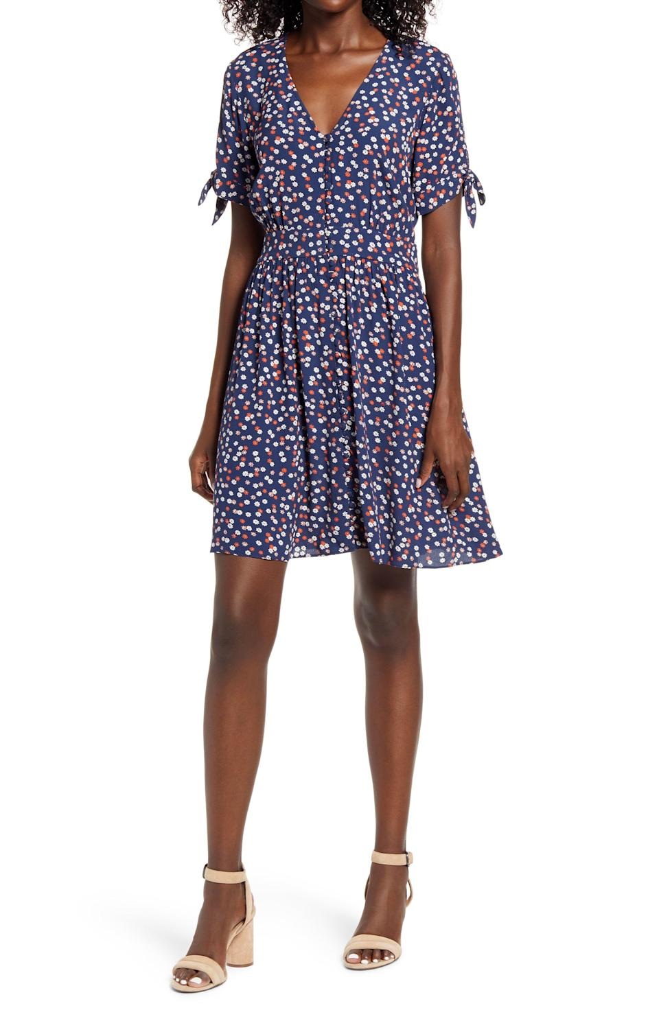 """<p><strong>MADEWELL</strong></p><p>nordstrom.com</p><p><strong>$79.90</strong></p><p><a href=""""https://go.redirectingat.com?id=74968X1596630&url=https%3A%2F%2Fwww.nordstrom.com%2Fs%2Fmadewell-tie-sleeve-button-front-dress-in-mini-daisy%2F5605082&sref=https%3A%2F%2Fwww.townandcountrymag.com%2Fstyle%2Ffashion-trends%2Fg33595537%2Fnordstrom-anniversary-sale-2020-womens-clothing%2F"""" rel=""""nofollow noopener"""" target=""""_blank"""" data-ylk=""""slk:Shop Now"""" class=""""link rapid-noclick-resp"""">Shop Now</a></p><p><em>Originally: $128</em></p>"""