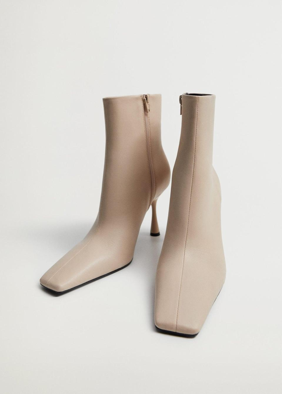 <p>We love the silhouette of these neutral <span>Mango Heel Leather Ankle Boots</span> ($120).</p>