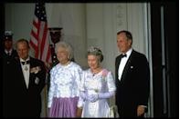 """<p>The queen, here with Philip attending a White House State Dinner in 1991 with President George H.W. and Barbara Bush, always acknowledged her husband's major role in her diplomacy. </p><p>""""All too often, I fear, Prince Philip has had to listen to me speaking. Frequently we have discussed my intended speech beforehand and, as you will imagine, his views have been expressed in a forthright manner. He has, quite simply, been my strength and stay all these years, and I, and his whole family, and this and many other countries, owe him a debt greater than he would ever claim, or we shall ever know.""""</p>"""